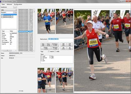 Die Software erkennt die Startnummern auf dem Bild und ordnet sie Dateien zu.